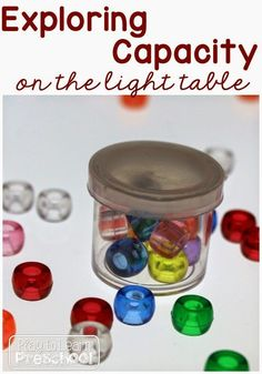 Exploring Capacity on the light table for preschoolers by Play to Learn Preschool Capacity Activities, Measurement Activities, Math Measurement, Sensory Activities, Hands On Activities, Preschool Activities, Preschool Plans, Cognitive Activities, Preschool Centers