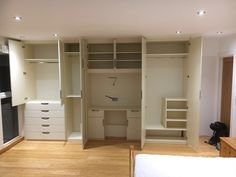 Look at the storage in here! It's even got a little dressing table built-in. In a lovely cream colour.