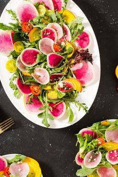 Essential Summer Watermelon Radish Salad Recipe via Brit + Co Watermelon Radish, Radish Salad, Radish Recipes, Salad Recipes, Healthy Recipes, Fancy Salads, Summer Salads, Spring Salad, Healthy Summer