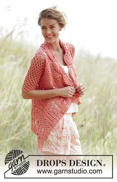 """Peach Dream -  Jacket worked in a square with #lace pattern in """"Paris"""". Free #crochet pattern"""