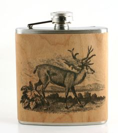 Deer hunter Gift Flask -vintage art- real wood wrapped metal flask - unique gift sportsman -