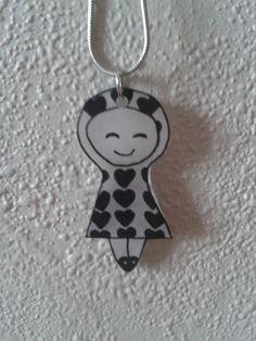 Collier petite fille en plastique fou (ou dingue) noir et blanc