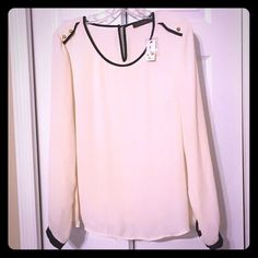 NWT The Limited White Long Sleeve Blouse - Size L Gorgeous Limited top with black piping and gold accents. Perfect top to transition from work to play! Love it paired with statement jewelry. The Limited Tops Blouses