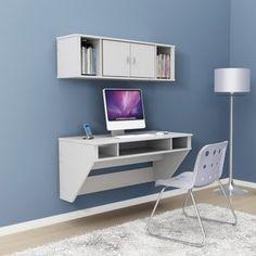 Prepac Designer Floating Desk with Optional Hutch - White