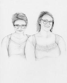 A Sisters Portrait Custom Siblings Portrait by ABitofWhimsyArt