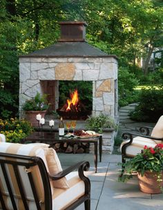 Great three-sided fireplace