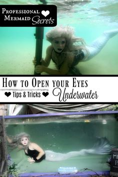 How to Open your Eyes Underwater like a Professional Mermaid Tips Tricks for Reducing Burning and Irritation after a swim in the pool lake or ocean Find the BEST eye dro. Diy Mermaid Tail, Silicone Mermaid Tails, Mermaid Tale, Mermaid Mermaid, Mermaid Room, Swimming Tips, Open Water Swimming, Swimming Workouts, Fantasy Mermaids