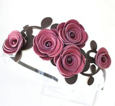 Bridal headband flower headband leather headband leather rose bridal hairband floral headband woodland wedding hair accessory prom
