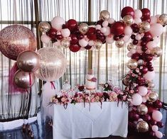 A devine set up of rose gold, burgundy and baby pink Featuring our our rose gold orbs and our signature giant tulle balloons and abstract… Tulle Balloons, Gold Confetti Balloons, Balloon Garland, Clear Balloons, Birthday Balloon Decorations, Bridal Shower Decorations, Wedding Decorations, Graduation Decorations, Quinceanera Decorations
