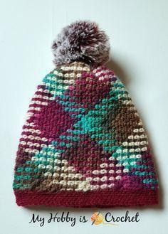 Argyle Crochet Hat with Removable Pompom- Free Crochet Pattern on myhobyiscrochet.com #plannedcolorpooling
