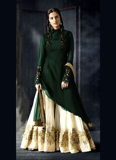 9c13904e9c Shop bottle green georgette a line shalwar kameez , freeshipping all over  the world , Item