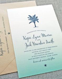 NEW Kapri Teal Ombre Palm Tree Beach Wedding Invitation Sample Beach Wedding Colors, Beach Wedding Guests, Beach Wedding Decorations, Craft Wedding, Wedding Seating, Wedding Invitation Samples, Beach Wedding Invitations, Beautiful Wedding Invitations, Invites