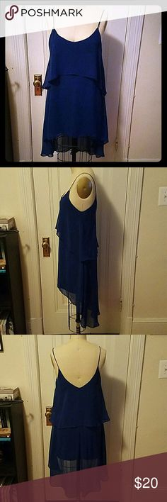 Royal Blue shear hi-low mini dress Barely worn blue dress. The is a lining underneath so no need for a slip. Perfect for parties or weddings! one clothing Dresses High Low