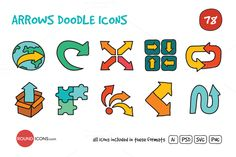 Check out Arrows Doodle Icons Set by roundicons.com on Creative Market