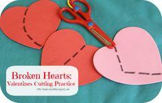 Broken Hearts: Valentines Cutting Practice- great festive activity and fine motor practice for your Tot/ Preschooler