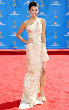 The Roommate actress looked like a golden goddess in a Zuhair Murad gown, Brian Atwood heels and Chopard jewels at the 62nd Annual Primetime Emmy Awards in L.A Aug 2010 #favNinaDobrevLook