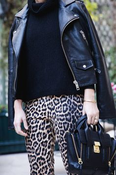 Black turtle neck + Zara Leopard skinny Pants by Collage Vintage