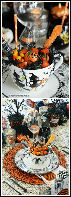 Black Hat Society Halloween Table | homeiswheretheboatis.net #witch #tablescape #Halloween
