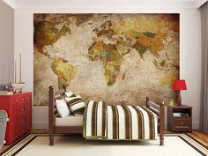 Papier peint photo Mappemonde - Motif vintage retro - Image murale XXL du Mappemonde - Décoration murale: Amazon.fr: Cuisine & Maison