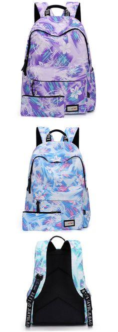 Leisure Flower Women Canvas Travel Rucksack Abstract School Laptop Bag Backpack…