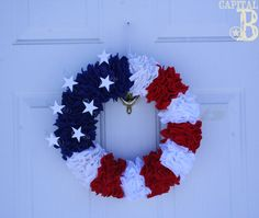 Tutorial for 4th of July wreath. Need:  -6 sheets of red/white felt, 4 blue,  -Straight pins  -Foam Wreath  -Craft Wire