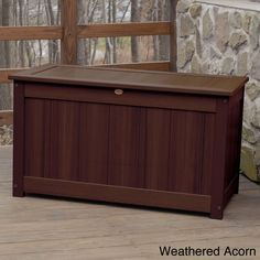 Highwood Eco-friendly Synthetic Wood Premium Deck Storage (Deck Storage Box. Large. Weathered Acorn), Brown, Patio Furniture (Plastic)
