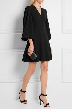 Alexander McQueen   Cape-back crepe mini dress   NET-A-PORTER.COM
