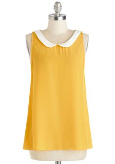 Classy Collector Top in Sun | Mod Retro Vintage Short Sleeve Shirts | ModCloth.com