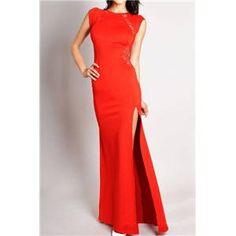 Bridal party dress Cut-out Split Lace Red Maxi Dress | berlinmo