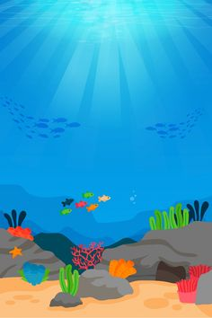 Summer Underwater World Background Template Underwater Cartoon, Underwater World, Beach Wallpaper, Summer Wallpaper, Fish Background, Background Images, Craft Activities For Kids, Infant Activities, Body Parts Preschool