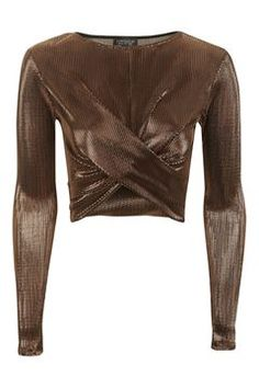 Rust Metallic Long Sleeve Top