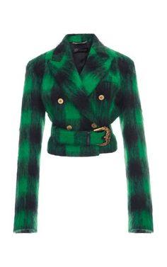 Mohair Tartan Jacket by Versace Fall Winter 2018 Dolly Fashion, Girl Fashion, Fashion Outfits, Fashion Heels, Plaid Jacket, Plaid Dress, Green Jacket, Knit Dress, Blazer
