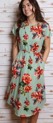 Corrine Floral Dress (Mint)
