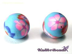 2x Polymer Clay Beads 10mm BLUE