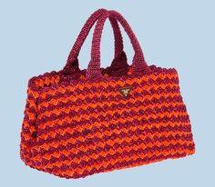Borse Prada, la linea in rafia - Prada, handbag in rafia crocheted rossa