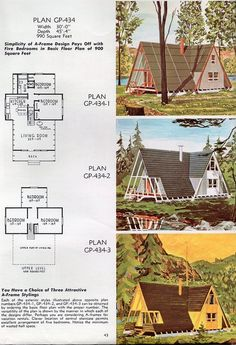 architektur A-frame house plans for second homes & family vacation cabins: 12 retro designs from the A Frame House Plans, Tiny House Plans, House Floor Plans, A Frame Floor Plans, Small House Plans Under 1000 Sq Ft, The Plan, How To Plan, Architecture Classique, Vie Simple