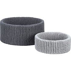 CB2 chunk crochet baskets for livingroom clutter storage