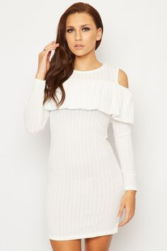 Mariela Knitted Frill Cold Shoulder Dress | WearAll Find this gorgeous item at https://www.wearall.com/
