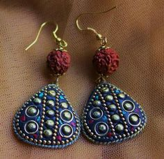 Antique Tibetan Style Earrings with a Rudraksh twist ! Statement Jewelry, Drop Earrings, Beads, Antiques, Ethnic, Handmade, Style, Products, Beading