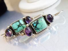 Vintage Sterling Silver 925 Turquoise Matrix Natural Amethyst Leverback Earrings #Handmade #DropDangle