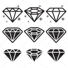 Diamond Icons Set — JPG Image #black #object • Available here → https://graphicriver.net/item/diamond-icons-set/5984122?ref=pxcr