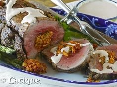 Chorizo Stuffed Beef Tenderloin with Chipotle Cream Sauce | Mexican Cheese | Cacique Inc. | Authentic Mexican Cheese