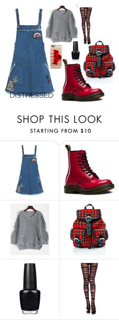 """Anarchy Chic"" by discobubbles on Polyvore featuring Sans Souci, Dr. Martens, Current Mood, OPI and Casetify"