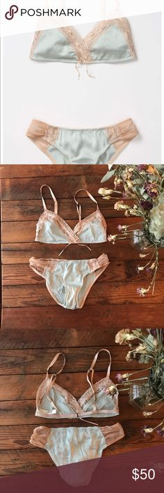 Anthro Eloise Corinne Lace & Ribbon Lingerie Anthropologie Eloise Lingerie Corinne Bralette & Panty Sold Out on Anthro Bra Size: XS Panty Size: Small Style No. 23456916 A touch of lace and a bit of blue silk, woven together by a length of slender ribbon. Silk, nylon, spandex || Bohemian  Hand wash Imported Never worn No trade Bundle or very reasonable offer only. Anthropologie Intimates & Sleepwear