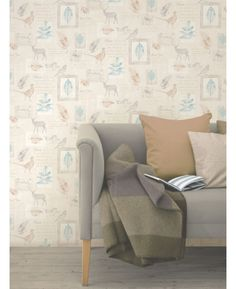 Stunning woodland animals design wallpaper features subtle metallic highlights.