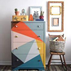 orange, blue, pink, mustard, geometric triangle painted draws