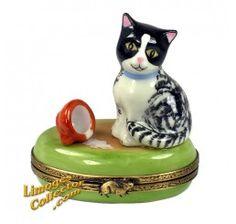 Black & White Cat Spilled Milk Limoges Box (Beauchamp)