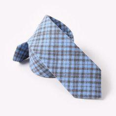 Slim Cotton Tie Men Designer Plaid Ties Men's Navy Blue Skinny Gingham Tie