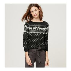 LOFT Reindeer Fairisle Sweater ($60) ❤ liked on Polyvore featuring tops, sweaters, wolf grey melange, grey knit sweater, knit sweater, knit tops, deer print sweater and long sleeve knit sweater