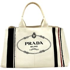 c361774cd04c Pre-owned Prada Auth Canapa Ivory Cotton Canvas Bn1872 - 33359 Grezzo...  (58,410 INR) ❤ liked on Polyvore featuring bags, handbags, tote bags, white  purse, ...